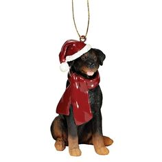 #Rottweiler Holiday Dog Ornament Sculpture. The perfect canine gift for Rottweiler dog aficionados and a fun way to include your pets in holiday decorating! #treeornament #Christmas