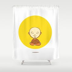 Cute cartoon buddhist monk Shower Curtain by Trapezoid