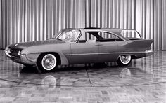 1958 Plymouth Cabana concept, complete with oversized sunroof, bubble glassed cargo space, and suicide doors.