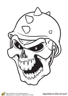 Coloriage d'une tête de mort soldat