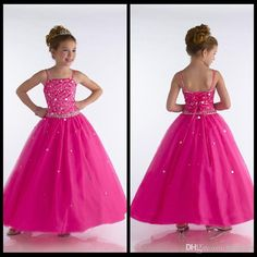 Wholesale Girl's Pageant Dresses - Buy Ankle Lenght Rose Cute Girl Pageant Dresses Beads Spaghetti Straps Organza Girls Pageant Dresses, $75.57 | DHgate