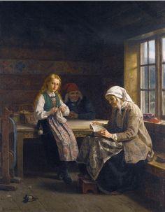 Old Lady Reading. Adolphe Tidemand