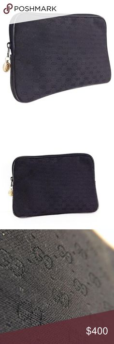 Gucci black monogram vintage pouch Rare vintage Gucci monogram cosmetic zipper pouch Gucci Bags Cosmetic Bags & Cases