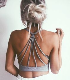 I love this bralette! Grey with awesome back...great for the beach! Chilling....