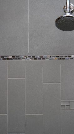 Grey tile, decorative glass tile strip