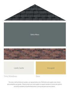 LP Fresh Color Palettes for grey roof/brick Different door color Exterior Color Schemes, Siding Colors, Exterior Paint Colors For House, House Color Schemes, Paint Colors For Home, Exterior House Siding, Grey Siding, Gray Exterior, Outside Paint