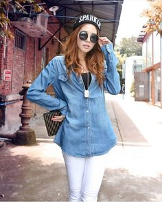 Korean Style Retro Long Style Denim Blouse Deep Blue--Click the picture can place an order,we support wholesale denim. #shoes #wholesale #fashion #lovely #cheap #Korean #dress #sexy #denim