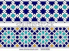 Two Arabic geometric ornamental border by Malysh Falko, via Shutterstock Beading Patterns Free, Mosaic Patterns, Geometric Lines, Geometric Designs, Vector Pattern, Pattern Art, Origami Gift Box, Glass Painting Designs, Paisley Art
