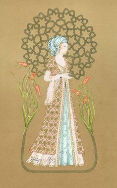 Hülya Aziz-Laleler Sultanı, 2012. Illustrations, Art And Illustration, Islamic Paintings, Islamic Patterns, Turkish Art, Letter Art, Love Painting, Mandala Design, Islamic Art