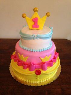Disney princess first birthday cake