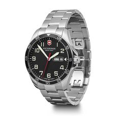 Victorinox Swiss Made Fieldforce Black Super-LumiNova Sapphire Glass DayDate Dial Stainless Steel Bracelet Watch Stainless Steel Bracelet, Stainless Steel Case, Rolex Watches, Watches For Men, Field Watches, Display Technologies, Victorinox Swiss Army, Swiss Army Watches, Blue And Silver