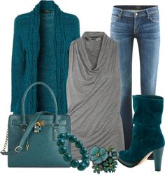 """Teal with Gray"" by lisamoran on Polyvore"