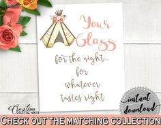Your Glass For The Night Bridal Shower Your Glass For The Night Tribal Bridal Shower Your Glass For The Night Bridal Shower Tribal 9ENSG - Digital Product #bridalshower #bridetobe