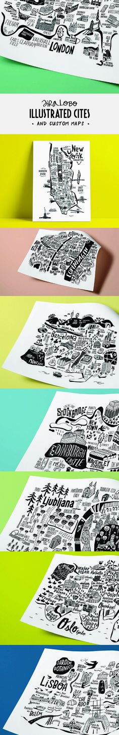 Illustrated city maps and custom maps by Sira Lobo. London, New york, Copenhagen, Oslo, Barcelona, Lisbon, Ljubljana and Edinburgh