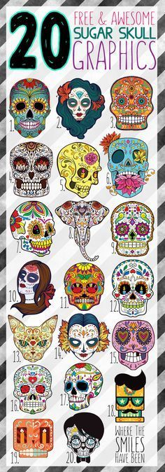 20 Free & Awesome Sugar Skull Graphics!   Where The Smiles Have Been