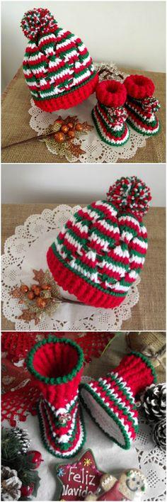 #Christmas Baby #Crochet Set Hat & Booties