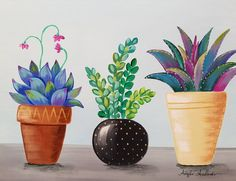 Succulents in Pots Acrylic Painting Tutorial by Angela Anderson on YouTube #succulents #cactus #acryliconcanvas