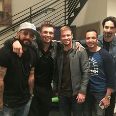 With my boys for the rehearsals today. We're live tomorrow on by nickcarter Brian Mcfadden, Backstreet's Back, Joey Mcintyre, Kevin Richardson, New Profile Pic, Christian Slater, Donnie Wahlberg, Nick Carter, Robbie Williams