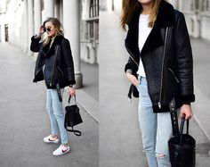 Get this look: http://lb.nu/look/8903575  More looks by Katarina Vidic: http://lb.nu/katiquette  Items in this look:  Shearling Jacket, Levi's® Jeans   #chic #classic #minimal