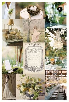 Are you the kind of girl who, if given the chance, would hang chandeliers from trees and dine on a rustic table beneath its glow every night of the week. Then this palette of fresh greens, muted browns, and vintage creams is right for you.