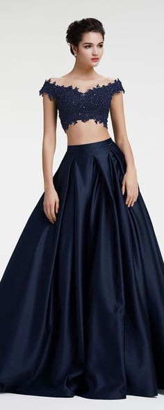 navy blue off the shoulder ball gown two piece prom dresses pageant evening dresses beaded lace homecoming dresses
