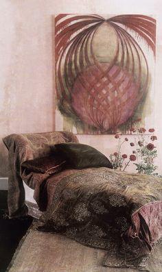 ❧ Couleur : Rose et brun ❧ Pink and brown Interior Flat, Home Interior Design, Interior Ideas, Bohemian Decor, Bohemian Style, Dark Bohemian, Bohemian Room, Ethnic Decor, Bohemian House