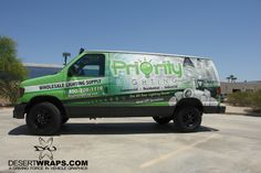 The color POPS on this high quality vinyl van wrap install for Priority Lighting. It was just released from the DesertWraps.com warehouse in Palm Desert, CA. Service areas include Palm Springs, Cathedral City, Rancho Mirage, Indio, La Quint and the Coachella Valley. #PalmSprings #Indio #PalmDesert #VanWrap #MobileAdvertising