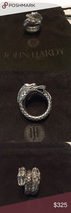 John Hardy Naga Double Dragon Dot Coil Ring Sterling silver with an ever-springy titanium core allow the ring to be slightly flexible and very comfortable. John Hardy Jewelry Rings