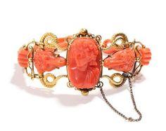 """ Carved ram's head cameo bracelet, ca. 1850-70 Victorian era bracelet from the mid 19th Century 1850-1870. Bell & Bird."""