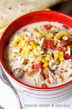 Super hearty and delicious Mexican Chicken and Corn Soup { lilluna.com }
