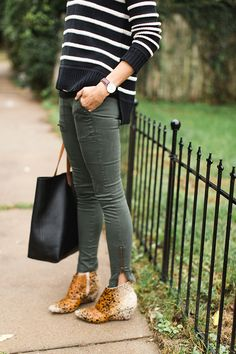 Everyday style idea - green moto pants, b/w striped sweater, leopard print booties