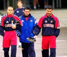 Luis Enrique,Jose Mourinho & Pep Guardiola together at FCB 1996