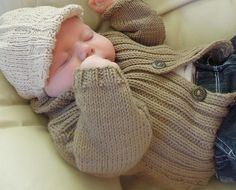 Knitting: Baby sweater and vest with Newsboy Cap