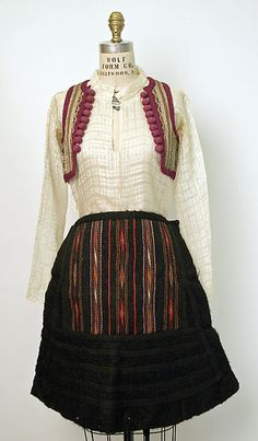 Ensemble Date: late 19th or early 20th century Culture: Albanian (Malissori) Medium: wool, cotton, metallic thread, ramie, animal skin, glass