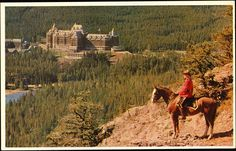 Postcard 21195: A mountie on horseback looks out over the Bow Valley. (1940-1955])