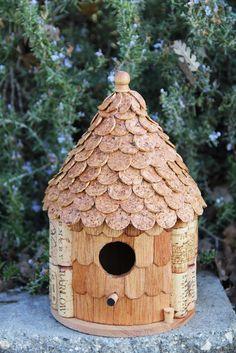 Roundhouse birdhouse, wood and wine corks. $44.95, via Etsy.