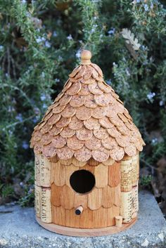 Roundhouse birdhouse, wood and wine corks. $44.95, via Etsy.