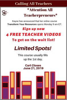 Get ahead of the pack! Get 4 FREE workshops with Kayse Morris so you're on the TRANSFORM YOUR RESOURCES wait list! (Affiliate link)  #teachertraining #teacherworkshops #teacherspayteachers #freeteacherworkshops #transformyourresources #kaysemorris