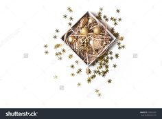 Composition With White Open Gift Box With Bright Golden Christmas Balls In Decorative Paper Isolated On White Background. Desk Covered With Stars Flat Lay, Top View, Copy Space For Text. Gift Concept Stock Photo 535822201 : Shutterstock