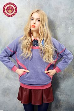 Womens Retro Loose Round Neck Sweatshirts,$49