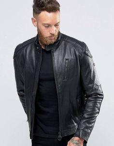 Barbour Leather Biker Jacket - Black
