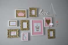 Pink and gold frames for Ellie's room