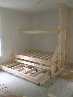 Built in bunk beds with trundle bed. Gives plenty of sleeping spaces without taking up too much room.