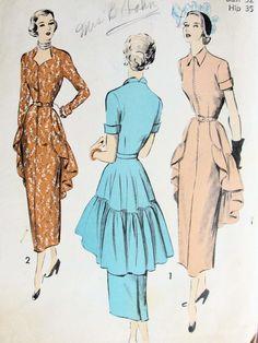 1940s LOVELY DRESS PATTERN FLOWING BACK PEPLUM, 2 NECKLINES, UNIQUE STYLE ADVANCE 5228