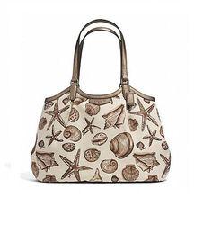 Coach Seashell Print Neutral/Natural Canvas Shoulder Bag off retail Coach Handbags, Coach Bags, Canvas Shoulder Bag, Shoulder Bags, Timeless Fashion, Luxury Branding, Sea Shells, Tote Bag, Purses