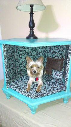 Dog Bed Made From Upside Down Thrift Store End Table
