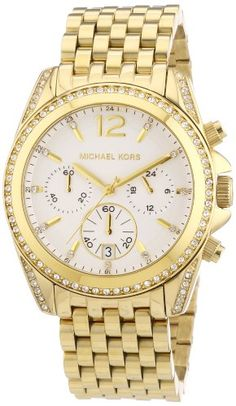 Michael Kors Pressley Chronograph White Dial Goldtone Ladies Watch MK5835 *** Click image for more details.