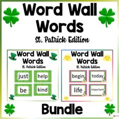 Word Wall Words St. Patrick ThemeThese word wall word cards St. Patrick theme in this 400-page packet will add a fun and bright focus in your classroom. The download contains 100-400 words from Fry's high-frequency list.Check out our other Word Wall Words. Click below.Word Walls...