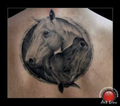 Yin-Yang: An equine- interpretation of a taijitu that has been given realistic detail and applied as a tattoo.