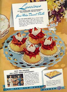 1941 Food Ad, Jane Parker Dessert Shells with Recipe, A&P Stores